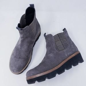 Gabor Grey Suede Check Insert Chelsea Boot Size 10